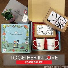 """With stars in your eyes and a flutter in your heart, you've found the love of your life. From that moment on, enamoring symbols of your love are especially precious, especially cherished, especially from your heart to theirs. Celebrate your love and your bond with your sweetheart, our soothing """"Together In Love"""" gift set is is a true expression of your love that you wanna grow old with them! Gift with love! Surprise someone special with a set of heart-melted gifts for couples."""