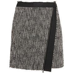 MSGM Tweed Mini Skirt ($300) ❤ liked on Polyvore featuring skirts, mini skirts, wrap front skirt, asymmetrical short skirt, asymmetrical skirt, panel skirt and short mini skirts