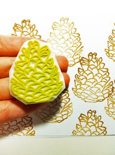 pinecone rubber stamp. hand carved rubber stamp. winter forest.