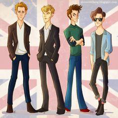 Cartoon versions of Tom Hiddleston (Loki), Benedict Cumberbatch (Sherlock), David Tennant (Tenth Doctor), and Matt Smith (Eleventh Doctor)