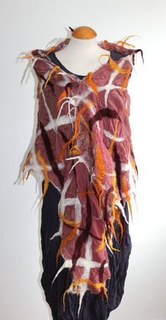 Nuno felted silk scarves  dusky pink gold white by Angelab5705