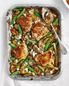 Chicken, feta, tahini and aubergine traybake The tahini, pomegranate molasses and honey drizzle turns sticky and gnarly as it bakes in the oven – a finger-licking good chicken dish. Chicken Thigh Fillet Recipes, Roasted Chicken Thighs, Chicken Breast Recipes Healthy, Yummy Chicken Recipes, Healthy Recipes, Yummy Food, Quick Recipes, Turkey Recipes, Quick Meals