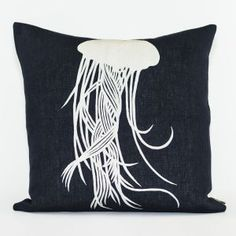 Ankasa Under The Sea Linen Cushion with Embroidered Center Jellyfish Motif