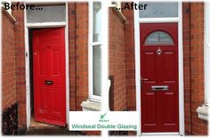red composite door in a white upvc frame. With sandblasted house number in the toplight. Installed by Windseal Double Glazing based in Coventry & Warwickshire Front Doors, Garage Doors, Composite Front Door, House Numbers, Coventry, Composition, Frame, Outdoor Decor, Modern