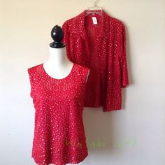 ❗️️REDUCED❗️2 Piece Sparkling Red Top Set Beautiful Red Set includes shell and blouse. Add some elegance to your outfits. Dress it up and pair it with black pants or go casual glam and wear it with jeans. Both pieces are 100% polyester and washable. Worn once. Pieces sold together. boutique Tops