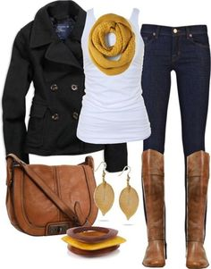 White Tank Top, Pea Coat And J Brand