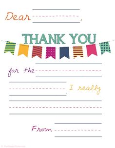 thank you note template for kids free printables pinterest