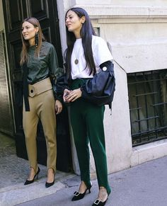 Giorgia Tordini and Gilda Ambrosio in Marni spotted on the street at Milan Fashion Week. Photographed by Phil Oh.