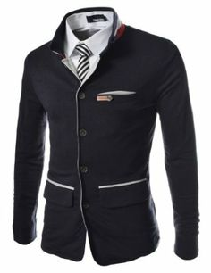 TheLees Men's Slim Stretchy China Collar Cardigan
