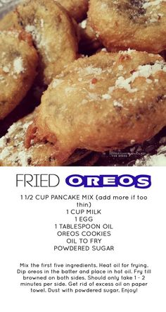first time I tried them, I fell in love with them. my favorite unhealthy snack to go to when I'm home and in depress mode. I Love Food, Good Food, Yummy Food, Deep Fried Desserts, Deep Fried Oreos, Fried Oreos Recipe, Delicious Desserts, Dessert Recipes, Donut Recipes