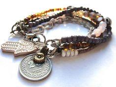 Bohemian hippie - kuchi coin and hamsa hand - beaded peacock gypsy bracelet