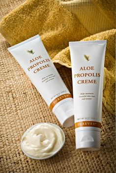 Aloe Propolis Creme A rich, creamy blend of aloe vera, bee propolis and camomile to help maintain healthy, beautiful skin tone and texture, with moisturising and conditioning properties. The Aloe Propolis Creme makes an excellent everyday moisturiser and Forever Aloe, Aloe Vera Gel, Aloe Vera Skin Care, Bee Propolis, Moisturiser, Cleanser, Forever Living Business, Chill Pill, Humectant