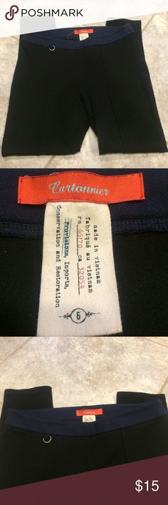 """ANTHROPOLOGIE Cartonnier Black Legging Pants Gently used---a re-Posh. Navy blue waistband. 26"""" inseam. Back pockets. Stitched creased seam in front---loose stitch on right leg (see pic). So stretchy and comfy! Anthropologie Pants Leggings"""