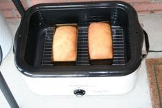Bake bread in roaster oven, put outside to keep from heating up your kitchen in the summer.