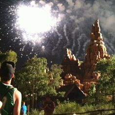 Fireworks over Big Thunder Mountain #Disneyland