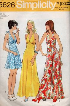 Disco 70s Fashion Halter Dress Jumpsuit by AdeleBeeAnnPatterns