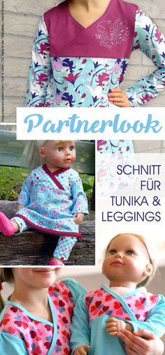 Nähen für Puppen und Puppenmamas: Tunika- und Leggings-Schnittmuster im Partnerlook! Die Puppenversion ist ein Freebie, beide beinhalten viele Größen und sind einfach zu nähen.
