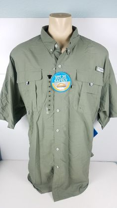 13a2a2992b2 NEW Columbia Shirt Short Sleeve Button Front Fishing Vented Size 4XLT 4XL  Tall