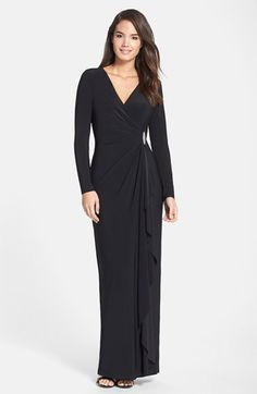 Lauren Ralph Lauren Long Sleeve Surplice Jersey Gown available at #Nordstrom