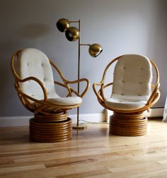 Pair of Vintage Rattan Swivel Rockers by ExeterFields ... love these! debating on rearrange my entire layout so I could make them work-