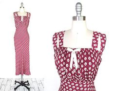 Vintage 1930s Dress | Wine Red Novelty Print 1930s Bias Cut Gown | small - medium