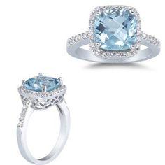 8MM CUSHION CUT AQUAMARINE & 0.45CTW DIAMONDS RING ENGAGEMENT OR COCKTAIL RING