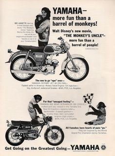 YAMAHA Motorcycle & Annette Funicello Ad