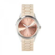 The Breo Aspect watch in nude/clear/rose gold.