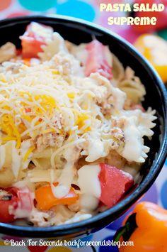 Creamy Pasta Salad Supreme  #pastasalad #easydinners #summerrecipes #FoodDeservesDelicious  #shop