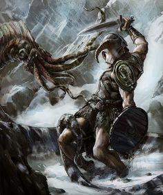 Skyrim hero vs unknown monster