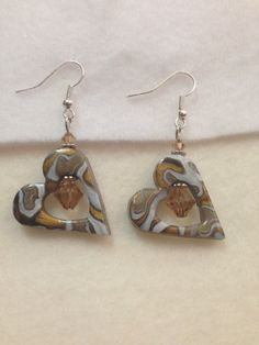 Gold Heart Polymer Clay Earrings  One of a Kind by VickieBeadia, $5.00