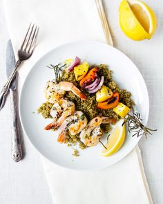 Grilled Shrimp and Vegetable Skewers with Pesto Quinoa