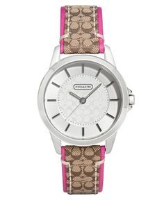 COACH Classic Signature Strap Watch, Pink Trim  in Great Brands 2013 from Macy's on shop.CatalogSpree.com, my personal digital mall.