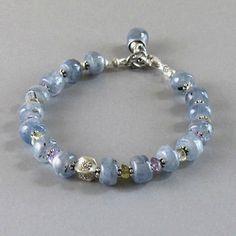 Kyanite Amethyst Citrine Gemstone Sterling Silver Bead Bracelet DJStrang Blue Boho Cottage Chic