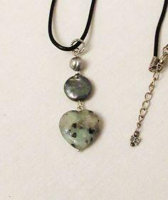 SOLD Kiwi Jasper Jewelry Heart Jewelry Kiwi Jasper by 3DesignDimensions