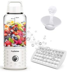 Personal Blender, PopBabies Travel Blender for single, USB Rechargeable Small Blender for Shakes and Smoothies Stronger and Faster with Ice Tray Funnel and Recipe(FDA and BPA free) Mini Blender, Portable Blender, Smoothie Blender, Smoothies, Travel Blender, Protein Shaker, Blended Drinks, Specialty Appliances, Ivory White