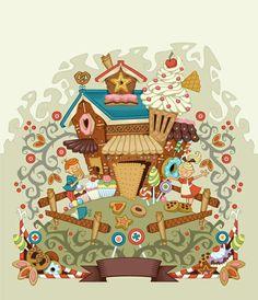 Hansel et Gretel, dresm haus, Hansel And Gretel House, Hansel Y Gretel, Illustration Noel, Digital Illustration, Candy House, Candy Art, Fantasy Paintings, Vintage Nursery, House Drawing