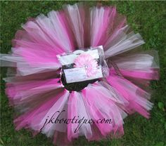 Tutu in Hot pink light pink and brown  Custom order by jkbowtique, $17.00