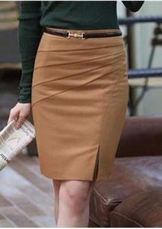 Black Camel Color Solid  Bust Skirt Women's Career Slim Hip Skirts