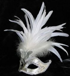 Hapeman,Claudia-White feather venetian masquerade ball mask made by www.socaldesginco.com