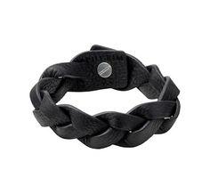 Pilgrim Men's Edge Black Woven Leather Cuff Bracelet