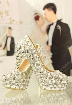Wholesale Wedding Shoes - Buy Charming Bling Bling White Wedding Shoes Around Crystals High Heel Wedding Party Shoe Rhinestones 12cm High-Heeles Prom Ball Shoes, $98.99 | DHgate