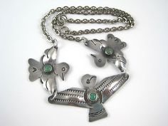 """Fred Harvey Era Turquoise Sterling Silver Thunderbird Necklace 18"""" Stamped 