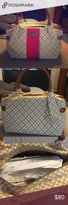 """NWT Kate spade purse!! Brand new, totally unused Kate Spade bag. Brown leather handles, beige and white """"spade"""" pattern, pink and orange stripes down the front. kate spade Bags Shoulder Bags"""