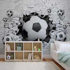WALL MURAL Football Through The Wall XXL PHOTO WALLPAPER (3383DC) | eBay
