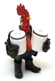 Cowboy Rooster Salt Pepper Shakers Morton Shake Decor