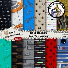In a galaxy far far away digital paper pack includes r2d2, c3po, bb8, death star, lightsabers, tie fighters, x wings, rebel alliance, etc. This pack is great for scrapbooking, card making, home decor projects, invitations, photo albums, craft projects, collages, web graphics, stationary, zazzle projects, cafe press designs, and so much more. ❤~~❤~~❤~~❤ You will receive ❤~~❤~~❤~~❤ ~ 12 assorted digital papers ~ high quality jpegs ~ 300 dpi ~ 12x12 inches ❤~~~❤~~~❤~~~❤ Instant Download ...