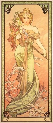 Alphonse Mucha (1860-1939). The Seasons: Spring. 1900. Colour lithograph. Mucha Museum - Prague - Czech Republic