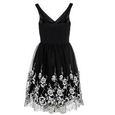Black Lace Flower Embroidered Prom Dress ❤ liked on Polyvore