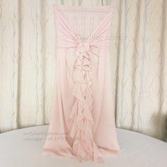 Wedding decoration pink curly willow chiffon Chiavari chair cover sash